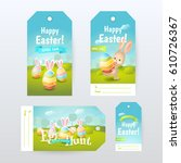 vector set of gift tags with... | Shutterstock .eps vector #610726367