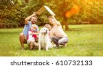 Stock photo family with roof over their heads as house construction goal concept 610732133