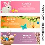 spring and easter festive web... | Shutterstock .eps vector #610735313