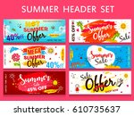 a set of website headers or... | Shutterstock .eps vector #610735637