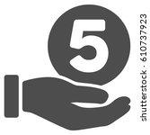 five cents payment hand glyph... | Shutterstock . vector #610737923