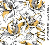 Stock vector seamless pattern with a yellow lily flowers on a white background vector illustration 610755077