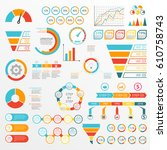 infographics set with charts ... | Shutterstock .eps vector #610758743