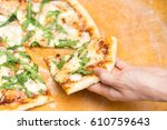 pizza margherita made with... | Shutterstock . vector #610759643