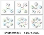 vector thin lines with circles... | Shutterstock .eps vector #610766003