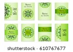 set template of postcards with... | Shutterstock .eps vector #610767677