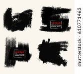 vector set of black brush... | Shutterstock .eps vector #610771463