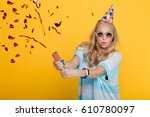 portrait of funny blond woman... | Shutterstock . vector #610780097