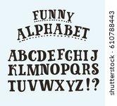 vector funny slab serif hand... | Shutterstock .eps vector #610788443