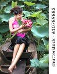 tam da lotus lake  ho chi minh... | Shutterstock . vector #610789883