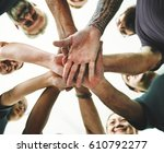 group of diverse people... | Shutterstock . vector #610792277