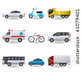 Realistic transportation icons set - stock vector