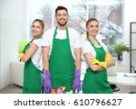 cleaning service team at work...   Shutterstock . vector #610796627