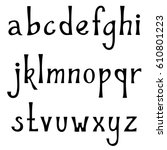 hand drawn lowercase alphabet.... | Shutterstock .eps vector #610801223