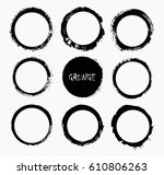 set of grunge circles.vector... | Shutterstock .eps vector #610806263