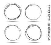 set of hand drawn circles using ... | Shutterstock . vector #610812113