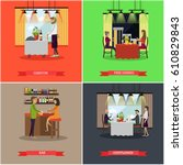 vector set of pub and... | Shutterstock .eps vector #610829843