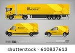 mockup set of yellow truck... | Shutterstock .eps vector #610837613
