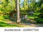 forest huts in woods. camping... | Shutterstock . vector #610837763