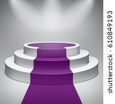 three steps empty round podium. ... | Shutterstock .eps vector #610849193