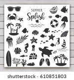 summer vintage silhouettes and... | Shutterstock .eps vector #610851803