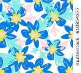 hand drawn floral seamless... | Shutterstock .eps vector #610854377