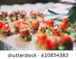 Mini Canapes With Smoked Salmo...