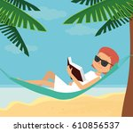 lady reading the book in the... | Shutterstock .eps vector #610856537