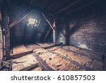 old garret  attic loft   roof... | Shutterstock . vector #610857503