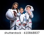 two little boys and girl in...   Shutterstock . vector #610868837