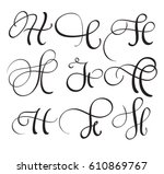 set of art calligraphy letter h ... | Shutterstock .eps vector #610869767