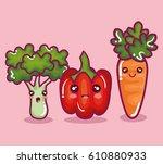 fresh vegetables funny character | Shutterstock .eps vector #610880933