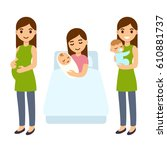 pregnancy and birth cute... | Shutterstock .eps vector #610881737