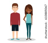young people avatars group | Shutterstock .eps vector #610885067