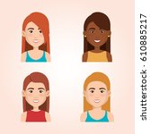 young people avatars group   Shutterstock .eps vector #610885217