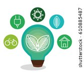 bulb with leafs ecology icon | Shutterstock .eps vector #610885487