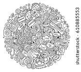 cartoon cute doodles hand drawn ... | Shutterstock .eps vector #610885553