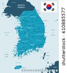 south korea map and flag  ... | Shutterstock .eps vector #610885577