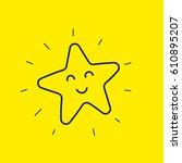 happy star smiley. hand drawn... | Shutterstock .eps vector #610895207