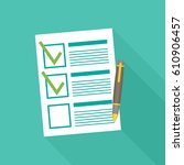 clipboard with checklist flat... | Shutterstock .eps vector #610906457