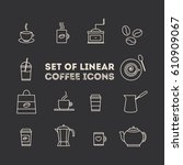 coffee icon set. line coffee... | Shutterstock .eps vector #610909067
