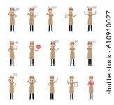 set of detective woman...   Shutterstock .eps vector #610910027