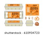 set of template labels for egg... | Shutterstock .eps vector #610934723