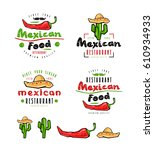 mexican food labels  badges and ... | Shutterstock .eps vector #610934933