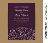 wedding invitation. floral... | Shutterstock .eps vector #610938857