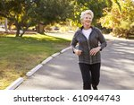 front view of senior woman... | Shutterstock . vector #610944743