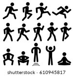 people figures in motion ... | Shutterstock .eps vector #610945817