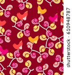 pattern birds and flowers on a  ... | Shutterstock .eps vector #610948787