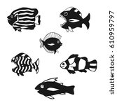 set of fish silhouettes. black... | Shutterstock .eps vector #610959797