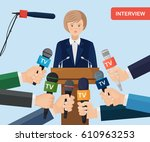 public speaker and hands of... | Shutterstock .eps vector #610963253